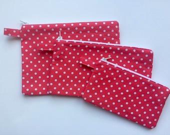 Pink polka dot zippered bag set