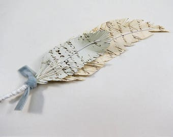 Paper Feather Groom Boutonniere - Corsage - Paper Feather Corsage