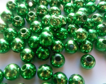 100 Metallic Emerald Green 6mm Acrylic Beads    -C4A