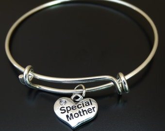 Special Mother Bangle Bracelet, Adjustable Expandable Bangle Bracelet, Mom Charm Bracelet,Mom Pendant,Mom Jewelry,Mother Bangle,Mother Gifts