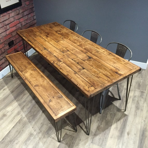 table and bench industrial dining table bench wood table. Black Bedroom Furniture Sets. Home Design Ideas