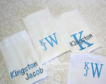 Baby Gift, Burpcloth, Baby Bib, Baby Shower Gift, Monogram Baby Gift, Monogram baby bib, Monogram infant, baby layette set