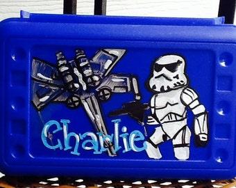 trooper pencil box, alien pencil box, spaceship pencil box, boys art box, boys school box, boys pencil box
