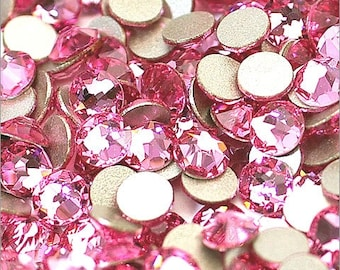 Light Rose (223) Swarovski 2058 Xilion/ New 2088 Xirius Crystal Flatback No-Hotfix Round Rhinestones (ss5-ss34) Nail Art