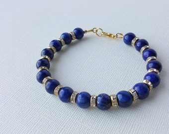 LAPIS LAZULI bracelet, 8mm gemstone beads, rhinestones,Third eye chakra / Ajna, crystal healing,  Chakra healing