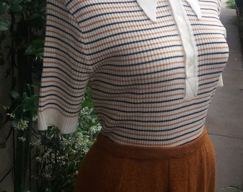 Afternoon Tea Vintage Button Up Striped Sweater