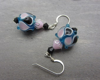 Lampwork Earrings Blue Pink and Black Earrings Glass Bead Earrings Dangle Drop Earrings SRAJD USA Handmade