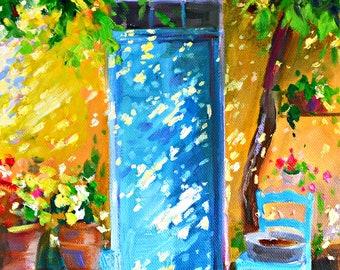 Original Painting of LA PROTE BLEUE, blue door, turquoise chair, grapevine, French door