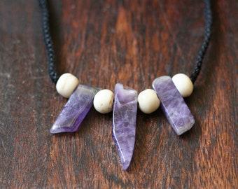 Amethyst and yak bone macramé necklace