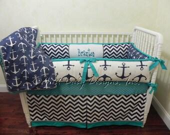 Nautical Baby Bedding Set Braxton - Boy Baby Bedding, Anchor Crib Bedding, Navy and Teal Crib Bedding