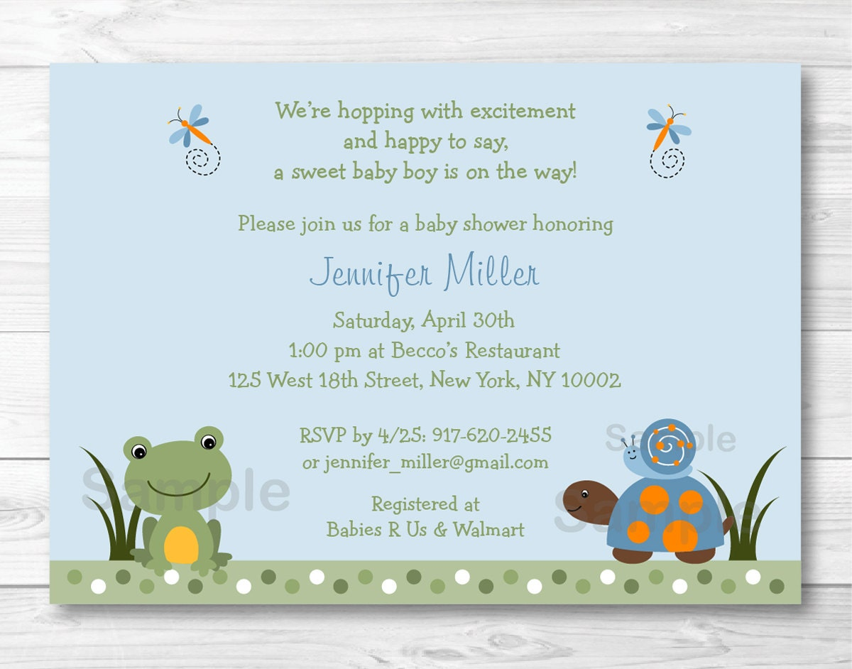 Cute Frog & Turtle Baby Shower Invitation / Turtle Baby Shower