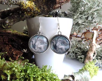 """""""Silver Griffin"""" Earrings: glass cabochon, forest back"""