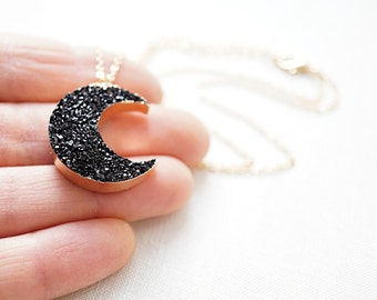 Mothers Day Gift Idea Celestial Black Druzy Moon Necklace Dainty Gold Chain Moon Crescent Gold Druzy Necklace Dark Side of the Moon Pendant
