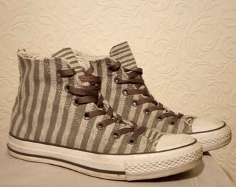 Converse, Two-tone Grey Striped High Top All Star, UK Size 5