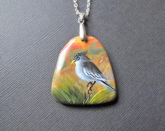 Bird Necklace - Hand Painted Necklace - Landscape Pendant - Bird Pendant -