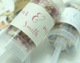 Set of 20 Mr & Mrs Petal Confetti Popper / Wand Natural Wedding Confetti Eco-Friendly Biodegradable Dried Delphinium Petals Colour Choice