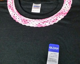 Crocheted Collar on 3XL Black T-shirt. Pink and white collar on black