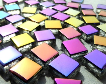 Metallic Glass Tiles - Crystal Electroplated Mosaic Tiles - Half Inch Mixed Bright Colors - 100 tiles