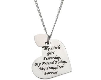 High Polished Stainless Steel My Little Girl Yesterday, My Friend Today, My Daughter Forever, Daughter's Necklace Pendant,  Daughter Jewelry