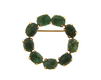 Vintage / Estate Gold Filled Jade Circle Pin by Ronci