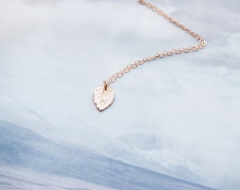 Dainty Leaf Necklace, Rose Gold Leaf Necklace, Gold Leaf Necklace, Sterling Silver Leaf Necklace