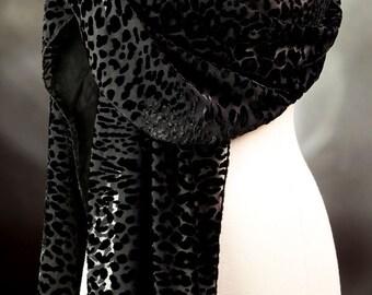 Black Silk Scarf Dotted Cut Velvet Long Handmade High End  Evening Scarf Neck Scarf or Shoulder Wrap Womens Gift Elegant Scarf