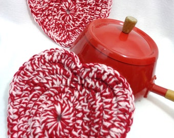 Red Heart Crochet Pot Holders, Multicolor Trivets, Heart Hot Pads, Valentines Day Gift, Present for Chef, MADE TO ORDER, Housewarming Gift