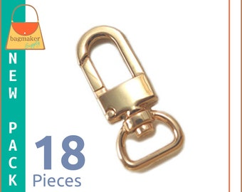 """1/2 Inch Swivel Snap Hooks, Gold Finish, Lobster Claw,  18 Pieces, .5 Inch, 1/2"""", Handbag Purse Bag Making Hardware Supplies, SNP-AA024"""