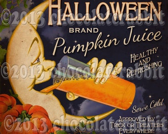 Pumpkin Juice Bottle Label Halloween Party Witch Digital Download Printable Labels Tags Vintage Image Clip Art Scrapbook Collage Sheet