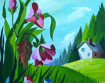Original Acrylic Painting Wildflowers Landscape painting Nature Gifts  by Michael Hutton 9 by12