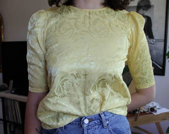 Satin Yellow Floral Short Sleeved Blouse