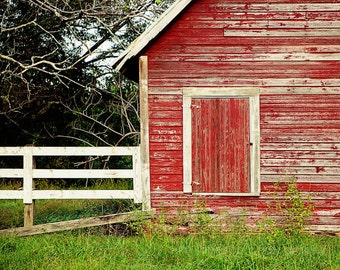 Rustic Red Home Decor, Barn Photography, Farm Decor, Red Wall Art, Old