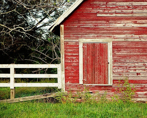 Rustic Red Home Decor Barn Photography Farm Decor Red Wall