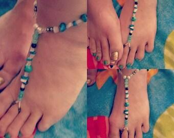 Turquoise Skull Barefoot Sandal