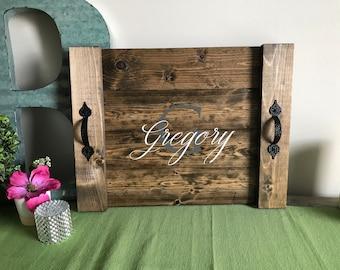 Serving tray, monogram tray, custom serving tray, personalized gift, personalized serving tray, cheese tray, ottoman tray
