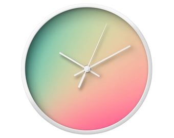 Gradient Ombre Turquoise Pink Wall Clock