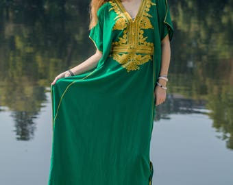Green Moroccan Style Handmade Abaya , Beautiful Maxi Batwing Dress With Gold Embroidery