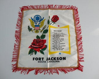 VINTAGE 1940s wwii era PILLOW COVER - fort jackson south carolina