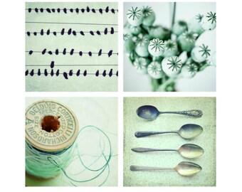 35% off - Mint green kitchen art, set of four prints, mint wall art, retro print set of 4, kitchen decor 8x8