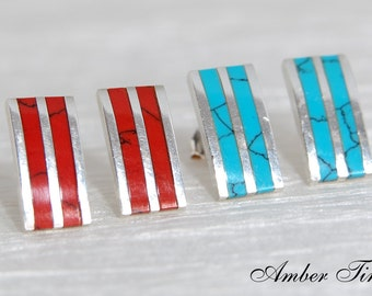 SK0008 Sterling Silver Ag 925 & Red Coral/Turquoise Modern Rectangular Stud Earrings