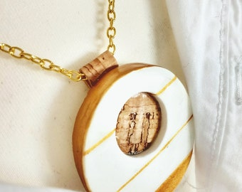 Vegan jewelry, cork necklace, ceramic necklace, gold necklace, gift for her, wedding
