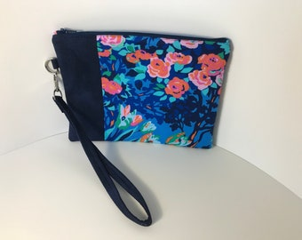 Handmade Blue Floral Zipper Pouch w/ Wrist Strap, Modern Clutch for Mom w/ Flowers, Gift for Her, Mother's Day, Zippered Bag, Wristlet