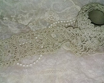 RARE Unique Antique Handmade Heavy Lace Still on Thread Roll Unfinished!
