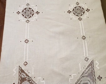 White Linen Tablecloth with Lace Insets
