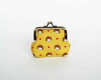 Coin purse, hedgehog fabric, yellow cotton hedgehog design, cotton purse