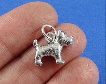 Scottish Terrier Charm - Silver Plated Scottie Dog Charm for Necklace or Bracelet