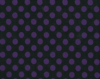 Purple and Black  Polka Dot Cotton Fabric -  Spot On by Robert Kaufman Fabrics - Perfect for Nursery, Clothing, and Quilts- Halloween Fabric