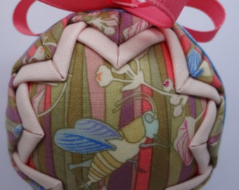 Quilted Fabric Ornament Spring Grasshopper Garden