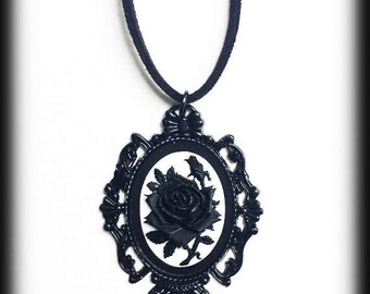 Gothic Victorian Necklace, Black Rose Cameo, Black Baroque Frame, Black and White, Steampunk, Romantic Valentine Gift, Gothic Jewelry