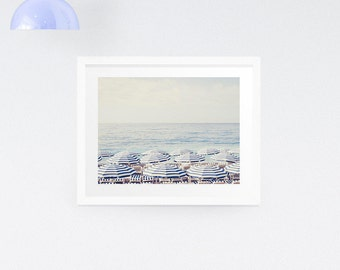 Aerial Beach Print, Beach Umbrella Art Print, Blue wall decor, Large Art print, Beach Photography Print, Wedding GIft